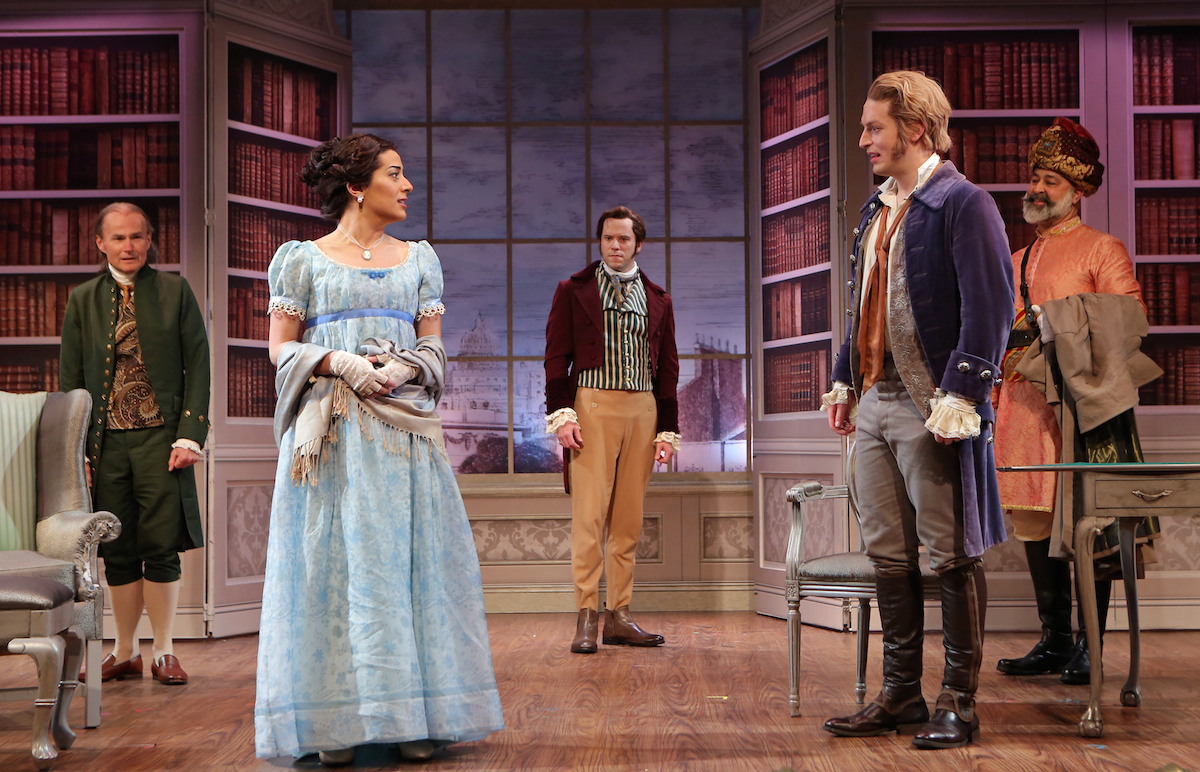Nadine Malouf and Christian Demarais in the foreground as Maria and Charles. Background: Henry Stram, Chrsitian Conn, Ramsey Faragallah