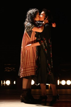 """Adina Verson and Katrina Lenk In """"Indecent,"""" 2017. Paula Vogel's play tells the story of the hundred-year-old Yiddish play that featured the first Lesbian kiss on Broadway. The actors playing the troupe keep on referring to the kiss as """"the rain scene."""" When we finally see the rain scene, it's not so much the kiss as the rain that overwhelms us."""