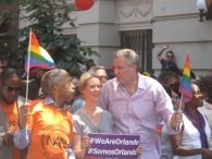 The Rev. Al Sharpton, actress Cynthia Nixon, and Mayor Bill de Blasio and his wife Chirlane McCray