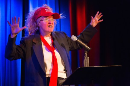 Karen Finley, in 2016, impersonating Trump