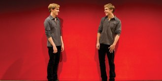 Zachary Booth as OTTO and Preston Sadleir as otto, In Me, Myself and I at Playwrights Horizons in 2010.