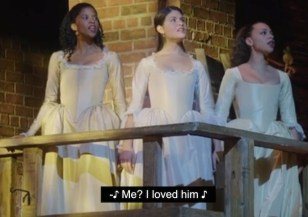 Renee Elise Goldsberry, Phillipa Soo and Jasmine Cephas Jones as the Schuyler Sisters