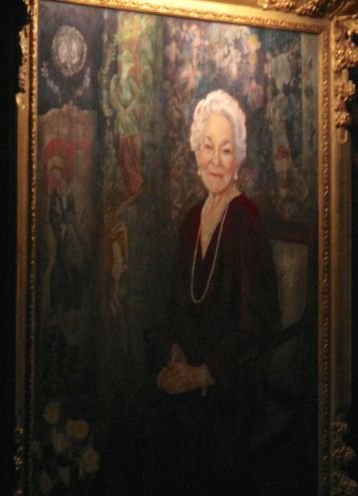 portrait of Helen Hayes, who was the first woman admitted into the club -- in 1989!