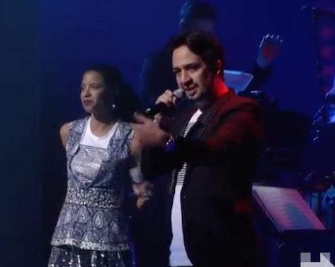 Rene Elise Goldsberry and Lin-Manuel Miranda