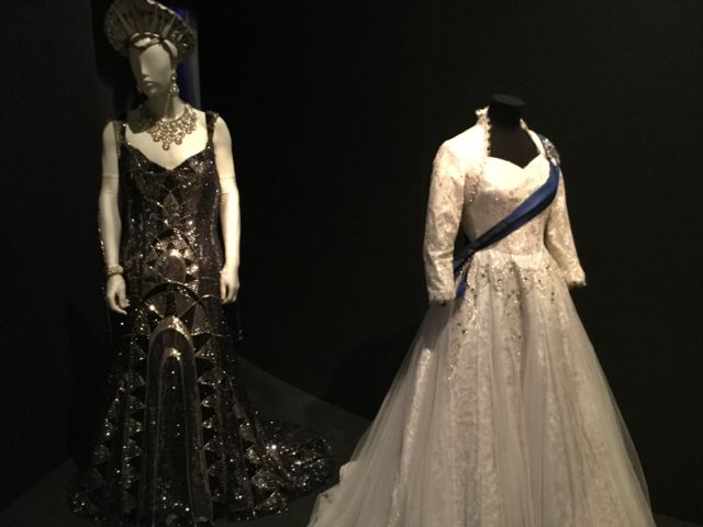 """Costumes for Roger Debris in the Producers, left, and Queen Elizabeth in The Audience. Of his costume in the Producers (one of 500 designed by William Ivey Long for the show), the character says: """"I'm supposed to be the Grand Duchess Anastasia, but I think I look more like the Chrysler Building."""""""