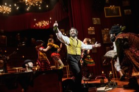 While Josh Groban is front and center in Natasha, Pierre and the Great Comet of 1812, the most memorable of several memorable moments in the show for me was an (almost) private one. A member of the ensemble, dressed like a punk rock, 19th century aristocratic slut, handed me a plastic Russian egg with pellets inside so that I could use it as a castanet in the next song.