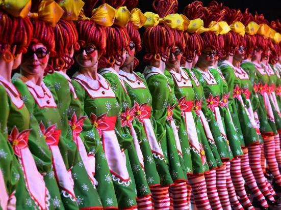 Radio City Rockettes as rag dolls