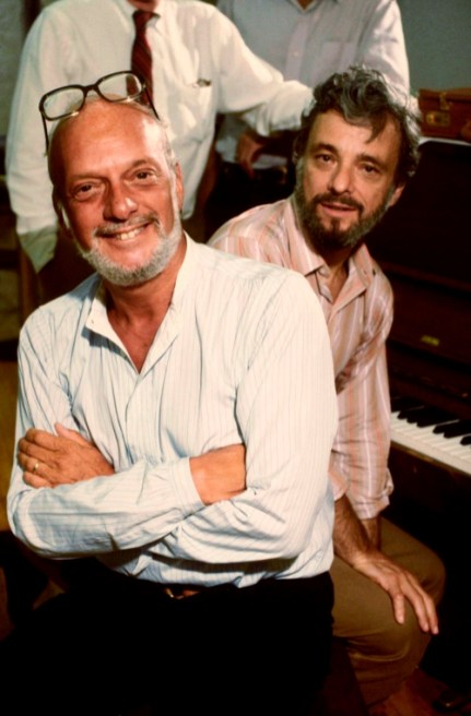 "(L-R) Director Hal Prince & composer Stephen Sondheim in a rehearsal shot from. the Broadway musical ""Merrily We Roll Along"", 1981"