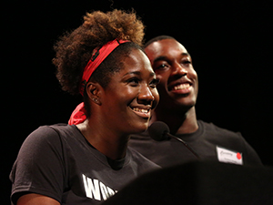 Amber Iman (left) came up with the idea for Broadway stars to come together in support of Black Lives Matter, while Britton Smith (right) teamed up with her .