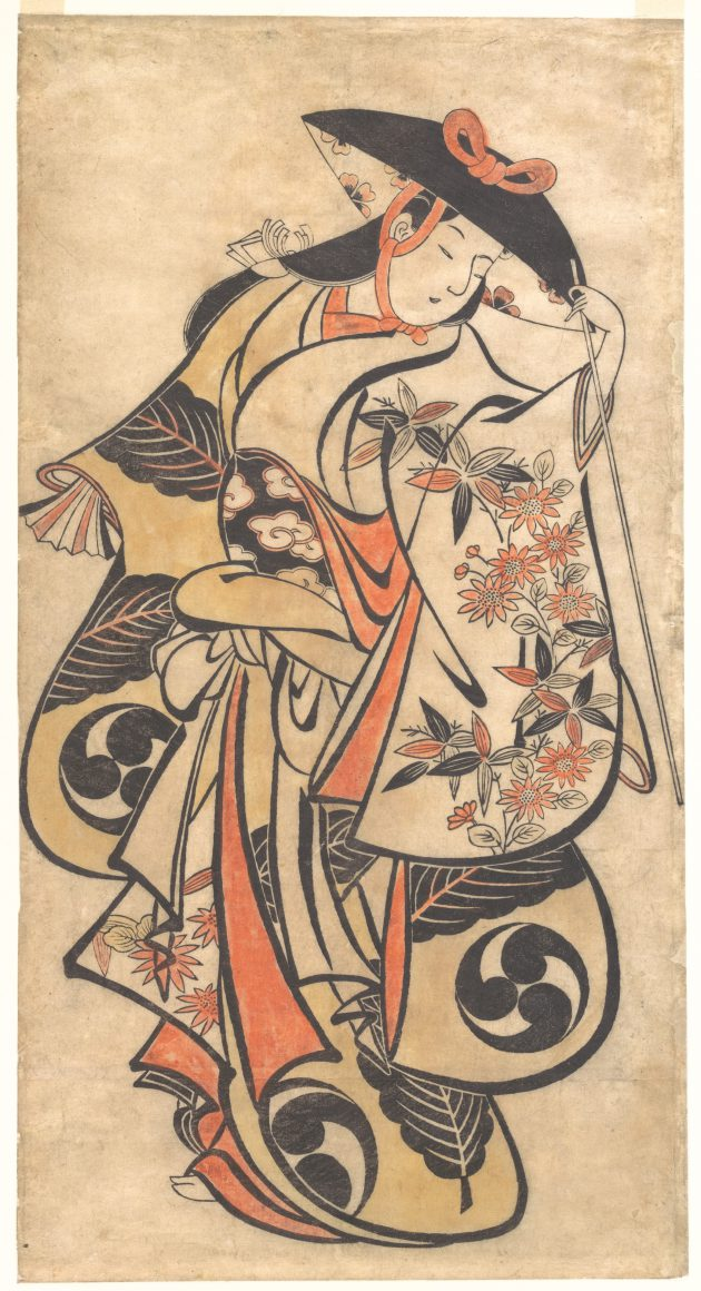 Kabuki actor, around 1708, attributed toTorii Kiyonobu. Kiyonobu, founder of the Torii line of artists, specialized in the painting of posters and signboards for the popular Kabuki theater. As required by the poster format, the bold, fluid lines, full, rounded forms, and flattened patterning were to be read at a distance. Kiyonobu's early experimentation with hand coloring was undertaken to enliven the stark black and white designs and to further the print's decorative appeal.