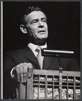 "It's worth pointing out that many plays and musicals have depicted fictional presidents. In ""Mr. President,"" which opened in October, 1962, Robert Ryan portrayed one such fictional president, in a musical comedy about his family; their last days in the White House; and retirement into civilian life. Photograph by Martha Swope."