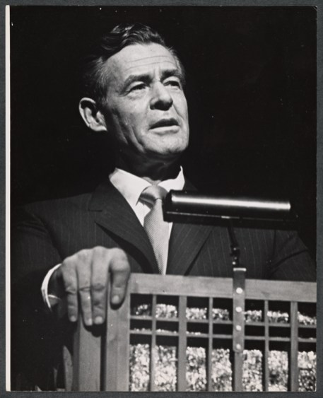"""It's worth pointing out that many plays and musicals have depicted fictional presidents. In """"Mr. President,"""" which opened in October, 1962, Robert Ryan portrayed one such fictional president, in a musical comedy about his family; their last days in the White House; and retirement into civilian life. Photograph by Martha Swope."""