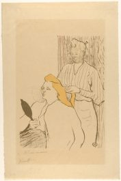 Henri de Toulouse-Lautrec (French, Albi 1864–1901 Saint-André-du-Bois) The Coiffure: Playbill for the Théâtre Libre, 1893 French, Lithograph printed in color, on japan paper; 19-11/16 x 13 in. (50.0 x 32.99 cm) The Metropolitan Museum of Art, New York, Bequest of Scofield Thayer, 1982 (1984.1203.140) http://www.metmuseum.org/Collections/search-the-collections/334380