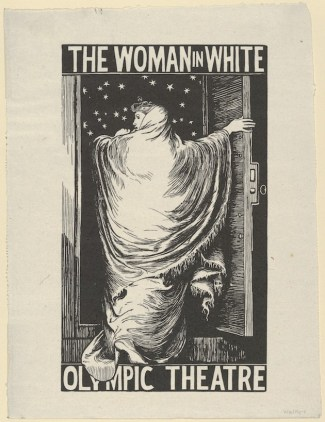 "Walker designed this poster for Wilkie Collins's ""The Woman in White,"" staged at the Olympic Theatre, London in 1871-2. Collins adapted the script from his enormously successful mystery novel published in 1859, and Walker was a friend. Considered the first theatrical poster by a well-known artist, the image represents the actress Anne Catherick swathed in a white cloak, flinging open a church door to step out into a graveyard at night."