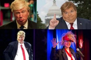 Varied Trump caricaturists, clockwise from upper left -- Adam Baldwin, Mike Daisey, Karen Finley, Meryl Streep