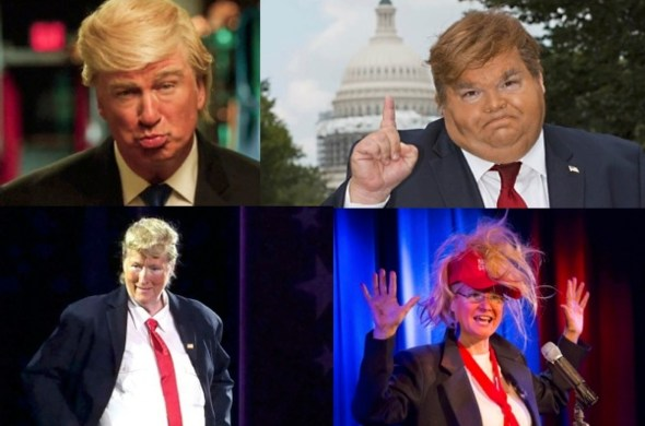 Varied Trump caricaturists, clockwise from upper left -- Adam Baldwin, Mike Daisey, Karen Finley, Meryl Streep