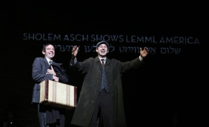 (l-r): Max Gordon Moore as Sholem Asch and Richard Topol as Lemml in INDECENT,