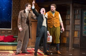 "Henry Shields, Jonathan Sayer and Henry Lewis, the three cast members of ""The Play That Goes Wrong"" who are credited as its authors."