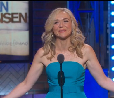 Rachel Bay Jones accepting her award as best featured actress in a musical for DearEvan Hansen