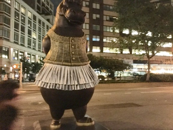 Happy as a hippo in a tutu? Statue across from Lincoln Center.