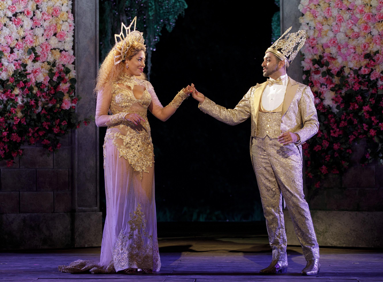 De'Adre Aziza as Hippolyta and Bhavesh Patel as Theseus