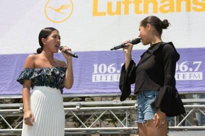 Rachelle Ann Go and Eva Noblezada in 2017 Broadway in Bryant Park concert