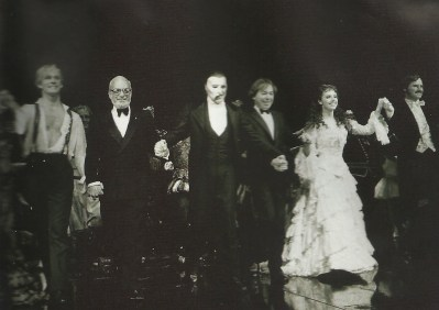 """January 26, 1988, Majestic Theatre. Opening night bow, Phantom of the Opera. (Hope it runs!) (Author's collection)"""