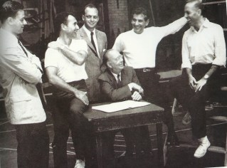 """""""West Side Story: the original creative team. Sondheim, Laurents, Prince, Bernstein, Robbins and Griffith (seated) (Photofest)"""""""