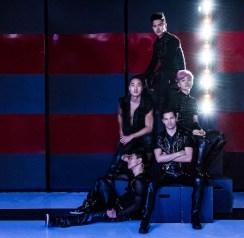 (clockwise circle) Joomin Hwang (bottom seated on floor left), John Yi (midlevel left), Jinwoo Jung (top), Jiho Kang (pink hair), Jason Tam (arms crossed)