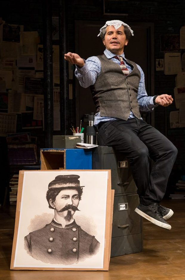 John Leguizamo re-enacting a scene involving Loreta Velazquez, a Cuban-born woman who disguised herself as a man in order to join the Confederate Army during the Civil War
