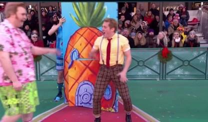 SpongeBob SquarePants performing at the parade