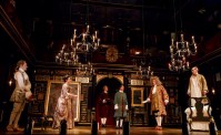 (l-r) Sam Crane, Melody Grove, Lucas Hall, Huss Garbiya, Edward Peel and Mark Rylance in Farinelli and the King