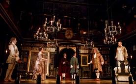 (l-r) Sam Crane, Melody Grove, Lucas Hall, Huss Garbiya, Edward Peel and Mark Rylance in Farinelli and the King