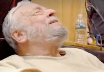 ...Stephen Sondheim, 89, nine-time Tony-winning composer, listening in the studio to a recording of the Broadway revival cast album of Sunday in the Park with George , 2019