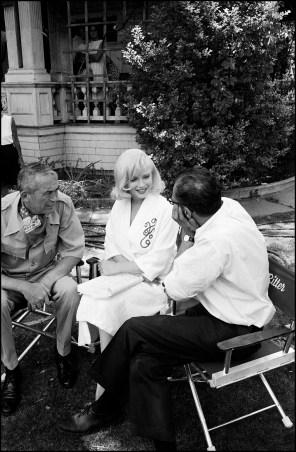 John Huston, Marilyn Monroe and Arthur Miller on the set of The Misfits