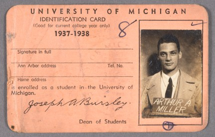 Arthur Miller's identification card for University of Michigan, 1937-1938.