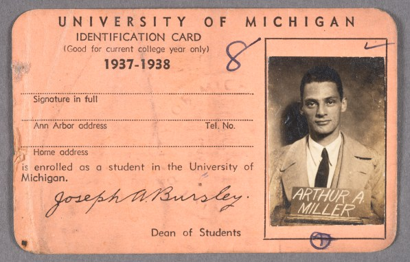 Arthur Miller's identification card for University of Michigan, 1937-1938.