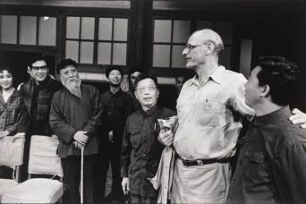 Arthur Miller during a visit to the Capitol Theater in Beijing, China. On Miller's right is China's best-known playwright Cao Yu], 1978.