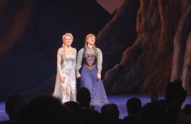 Caissie Levy (Elsa) and Patti Murin (Anna) bow after first Broadway performance.