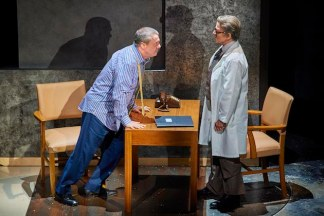 Nathan Lane as Roy Cohn and Susan Brown as Harry, Cohn's doctor, whom he's threatening after he's told him he has AIDS