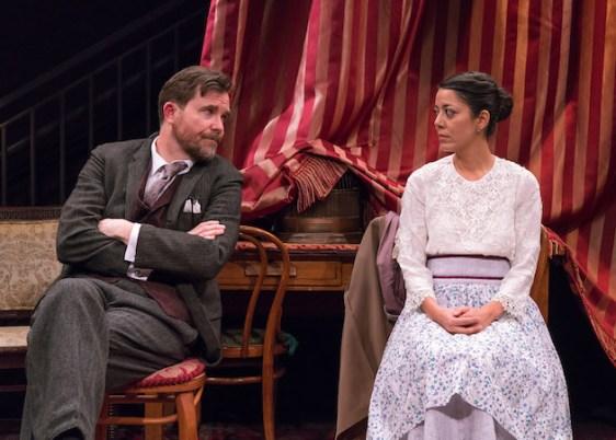 Eric Tucker as Henry Higgins and Vaishnavi Sharma as Eliza Doolittle in Bedlam's Pygmalion