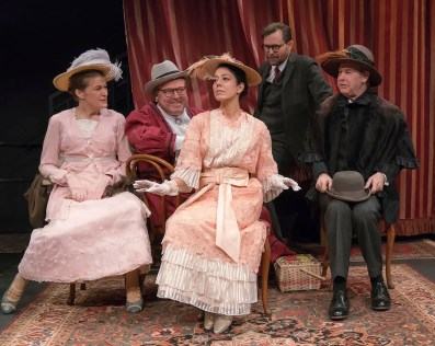 Annabel Capper, Edmund Lewish, Vaishnavi Sharma, Eric Tucker, and Nigel Gore in Bedlam's Pygmalion