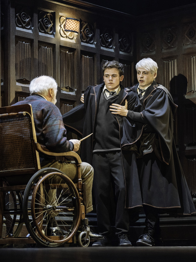 "Edward James Hyland, Sam Clemmett & Anthony Boyle in ""Harry Potter and the Cursed Child."" Photo by Manuel Harlan"