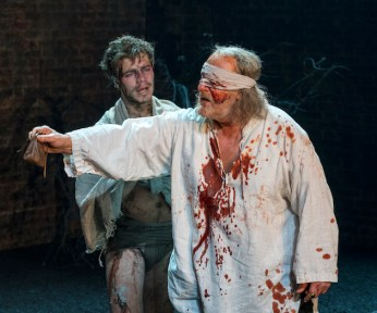 From Left: OLIVER JOHNSTONE & DAVID TROUGHTON in KING LEAR Royal Shakespeare Company By William Shakespeare Directed by Gregory Doran; dress rehearsal photographed: Saturday, April 7, 2018; 1:30 PM at the BAM Harvey Theater; Brooklyn Academy of Music, NYC; Photograph: © 2018 Richard Termine/BAM PHOTO CREDIT - Richard Termine