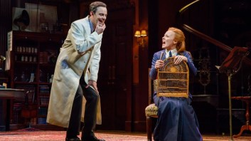 Harry Hadden-Paton as Prof. Higgins with Lauren Ambrose as Eliza