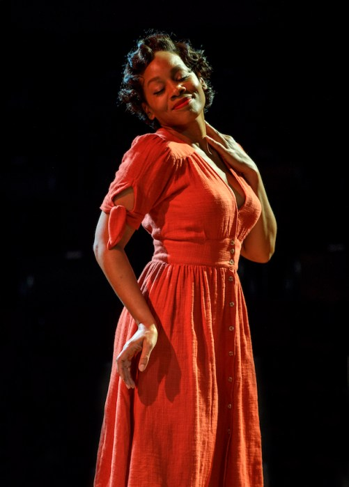 Anika Noni Rose enters as Carmen Jones in her bright red dress and red rose, and inspects her silk stockings. It is a subtle gesture that shows us a woman out for herself..