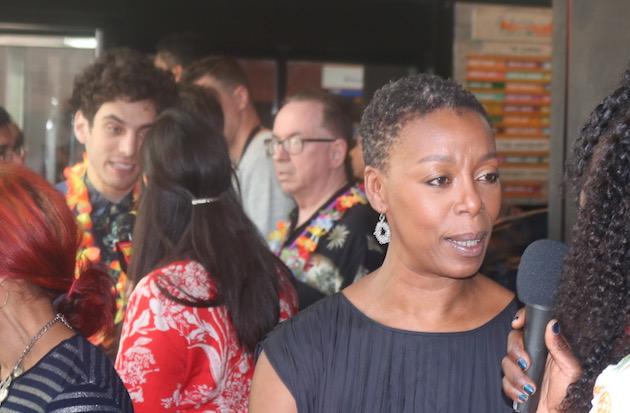 Noma Dumezweni and Ben Edelman on the press line of the 2018 Theatre World Awards