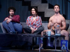 "Eli Gelb, Idina Menzel and Will Brittain in the 2018 Off-Broadway play ""Skintight"" by Joshua Harmon. It was her first non-singing role on a New York stage."