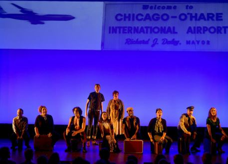 '68 - a new American musical. Depicted from left: Jonathan Spivey, Nicole Paloma Sarro, Joe Joseph, Jeremy Konopka, Delphi Borich, Mary Callanan, Uton Evan Onyejekwe, Jalynn Steele, Bob Gaynor, Maggie Hollinbeck. Photo credit: Michael Kushner