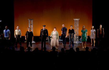 '68 - a new American musical. Depicted from left: Uton Evan Onyejekwe, Jonathan Spivey, Nicole Paloma Sarro, Bob Gaynor, Mary Callanan, Jeremy Konopka, Jalynn Steele, Maggie Hollinbeck, Delphi Borich, Joe Joseph. Photo credit: Michael Kushner